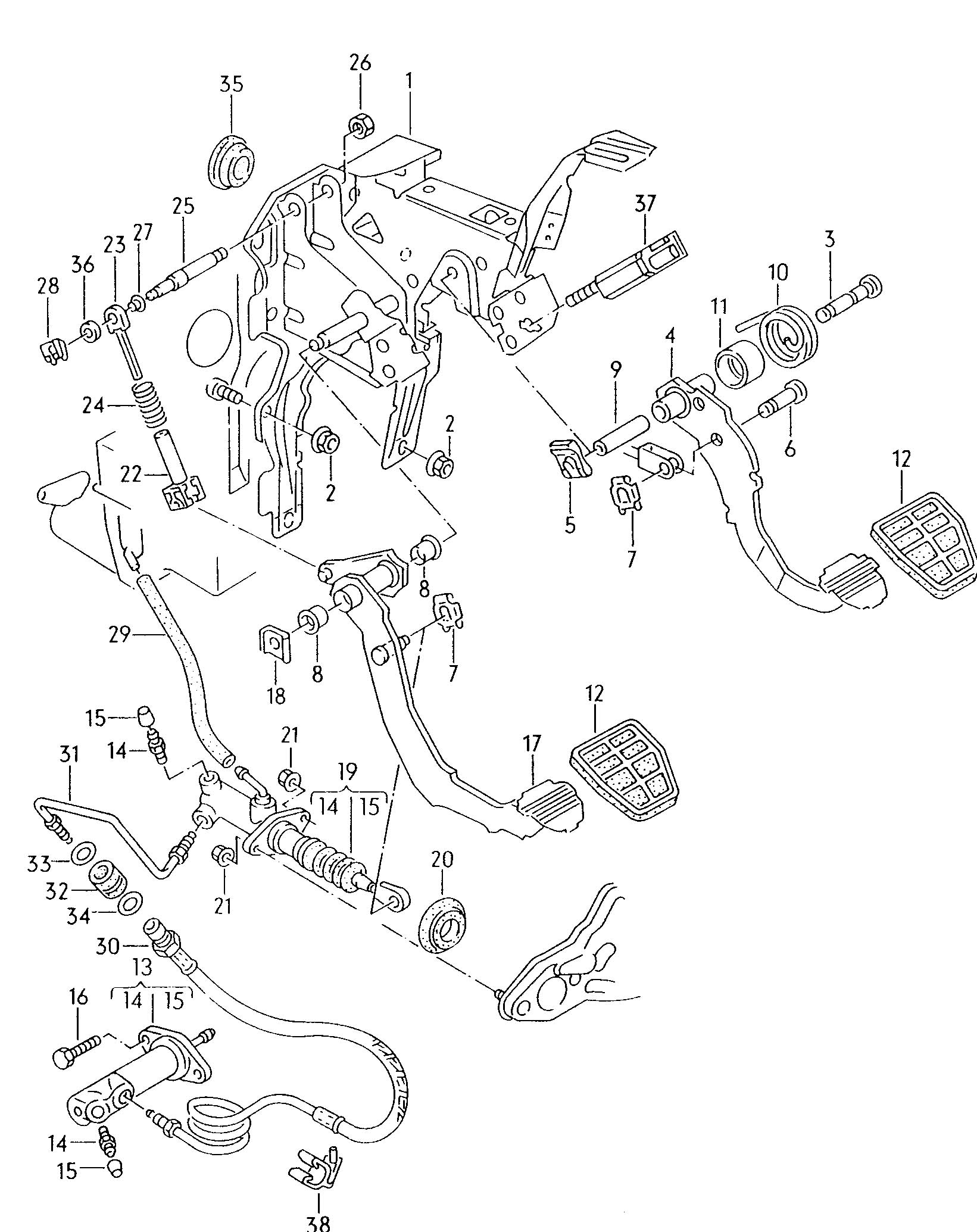 volkswagen passat over-center spring bearings - 1h0721423 ... vw hydraulic clutch diagram #12