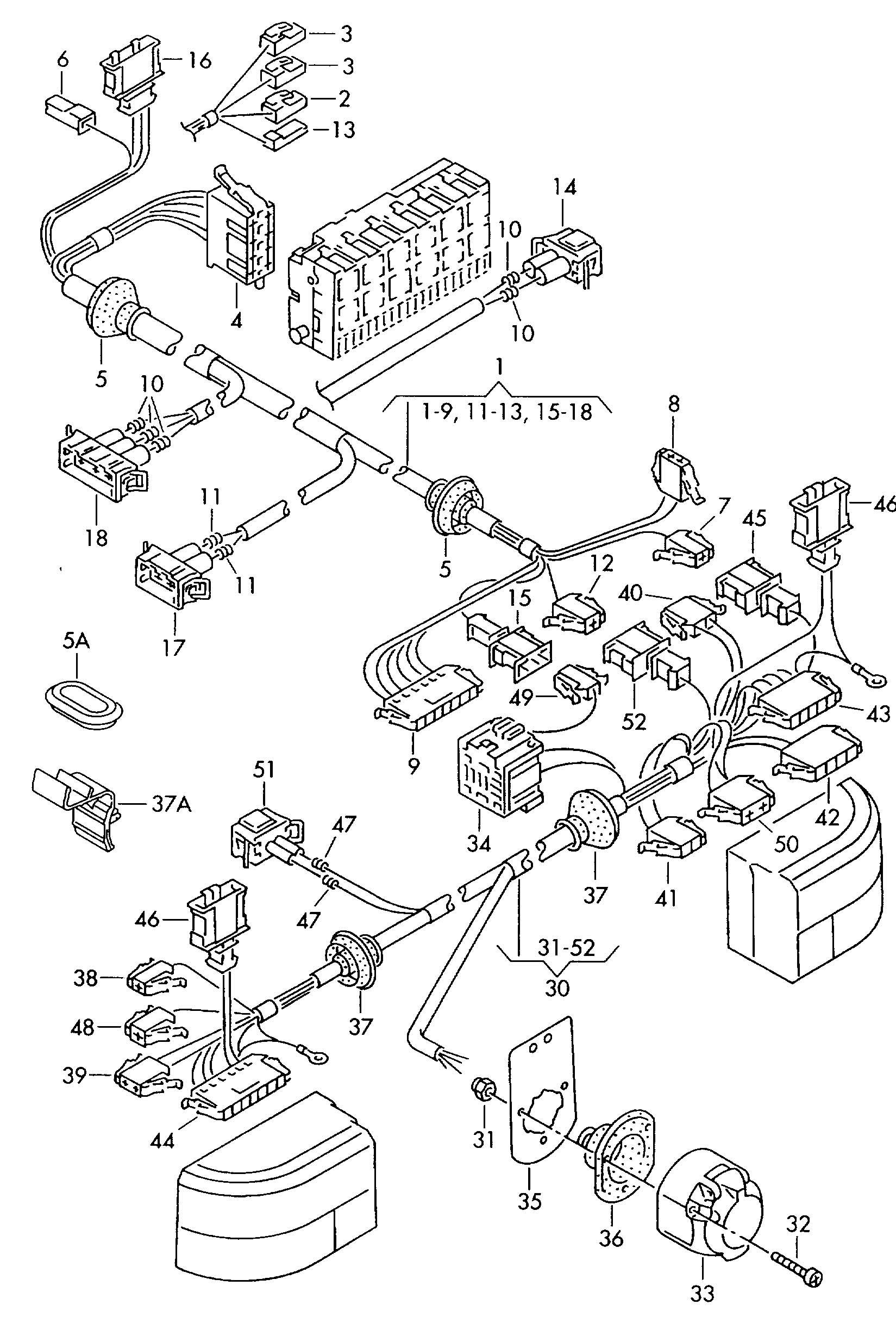 1999 Volkswagen Eurovan Housing  Harnessrear  Immobilizer
