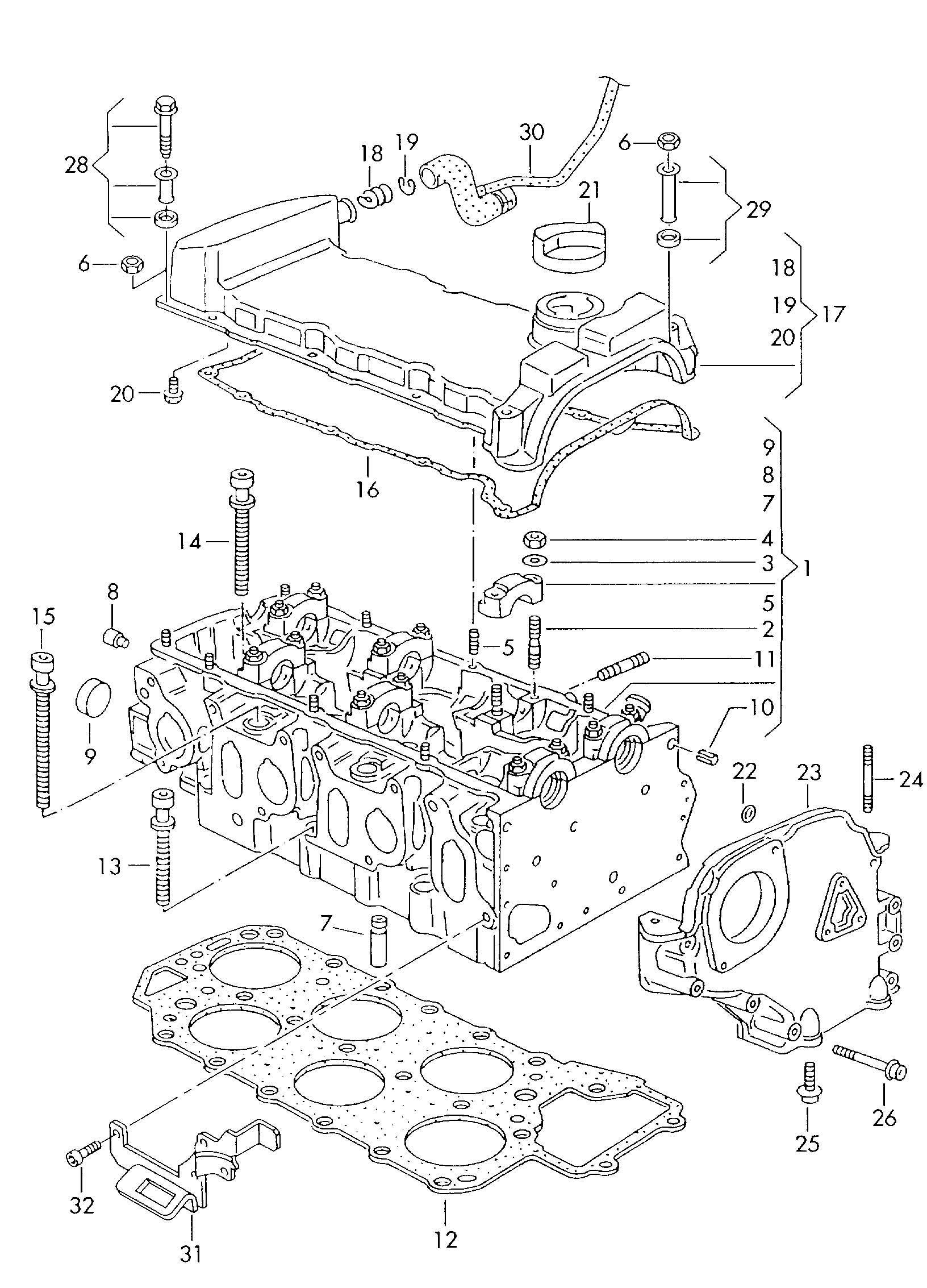 Diagram Cylinder head cylinder head cover 2.8ltr. for your 1993 Volkswagen (VW) EuroVan