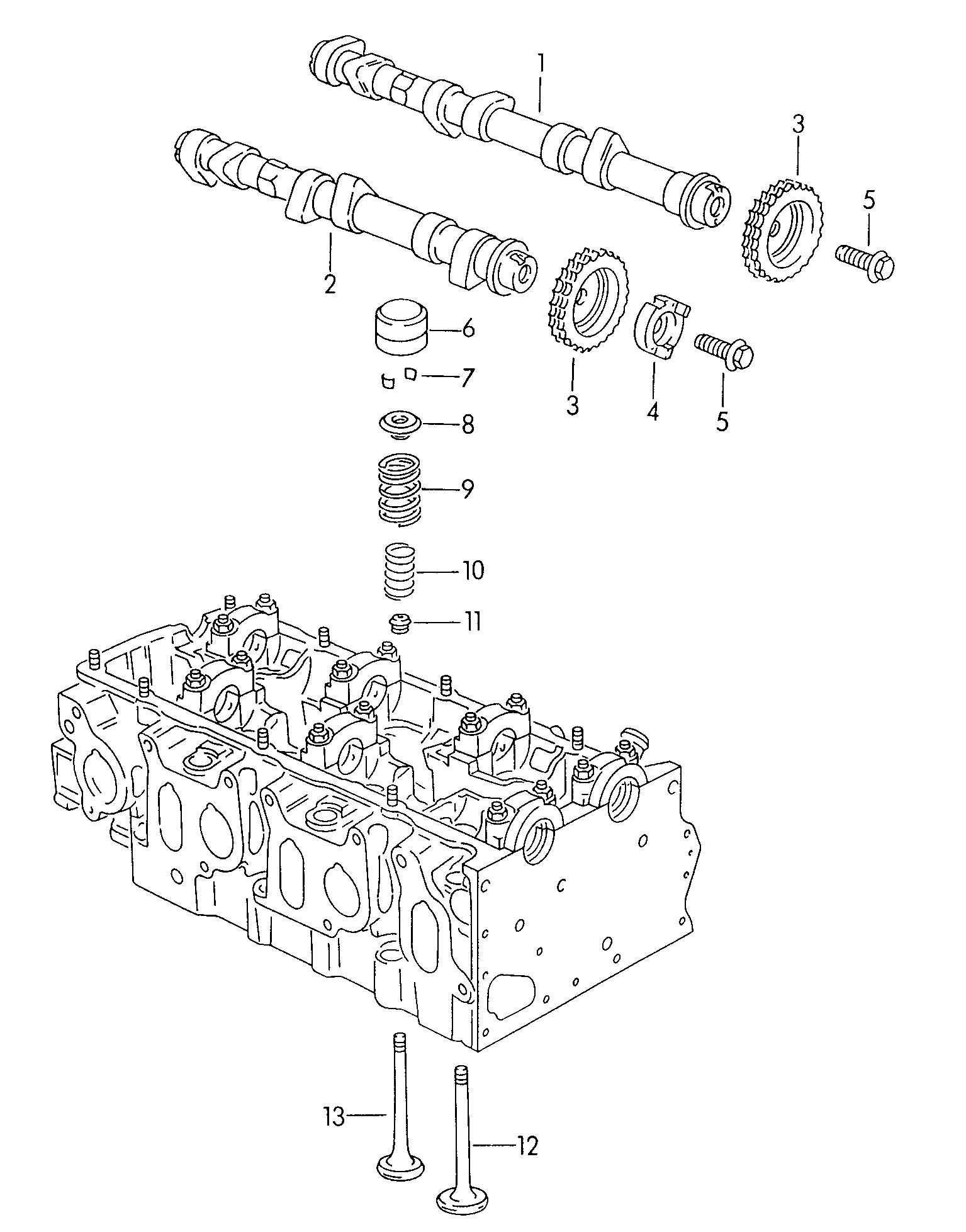 Diagram Camshaft, valves 2.8ltr. for your 1993 Volkswagen (VW) EuroVan