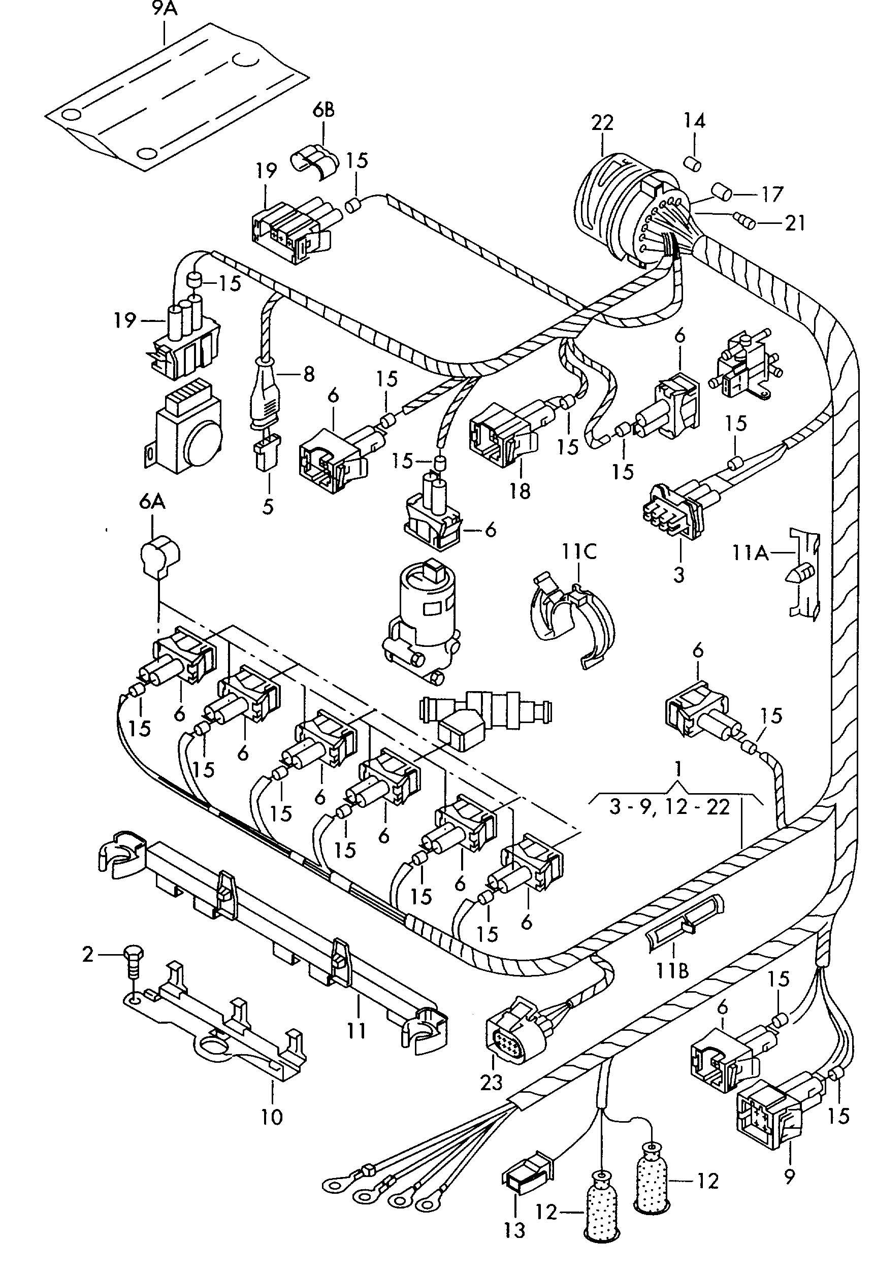 volkswagen corrado harness for engine single parts