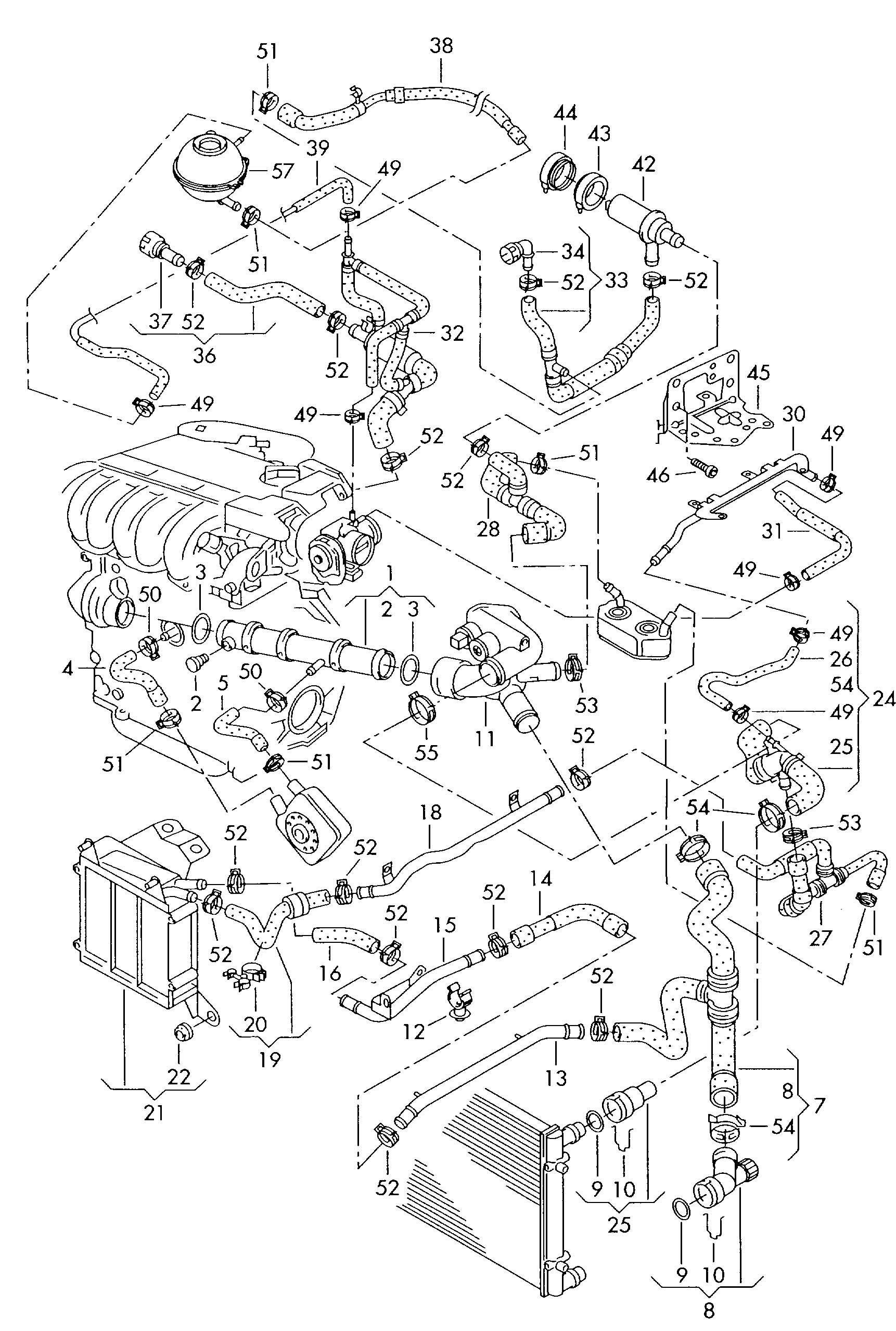 Jetta Hoses Diagram Automotive Wiring Diagrams Heating Zone Valve 2 0 Engine Schematic Name Heater Core Hose 03