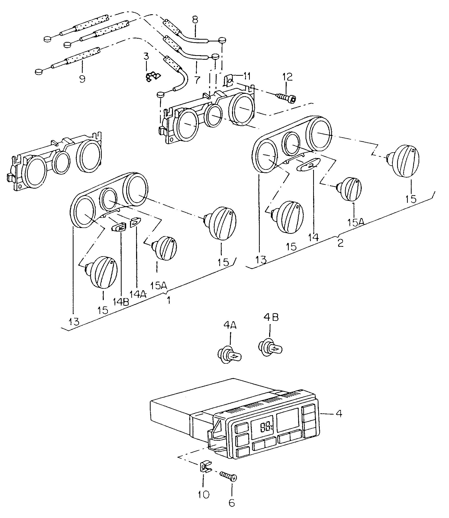 Diagram Fresh air and heater controls for your 2008 Volkswagen (VW) New Beetle