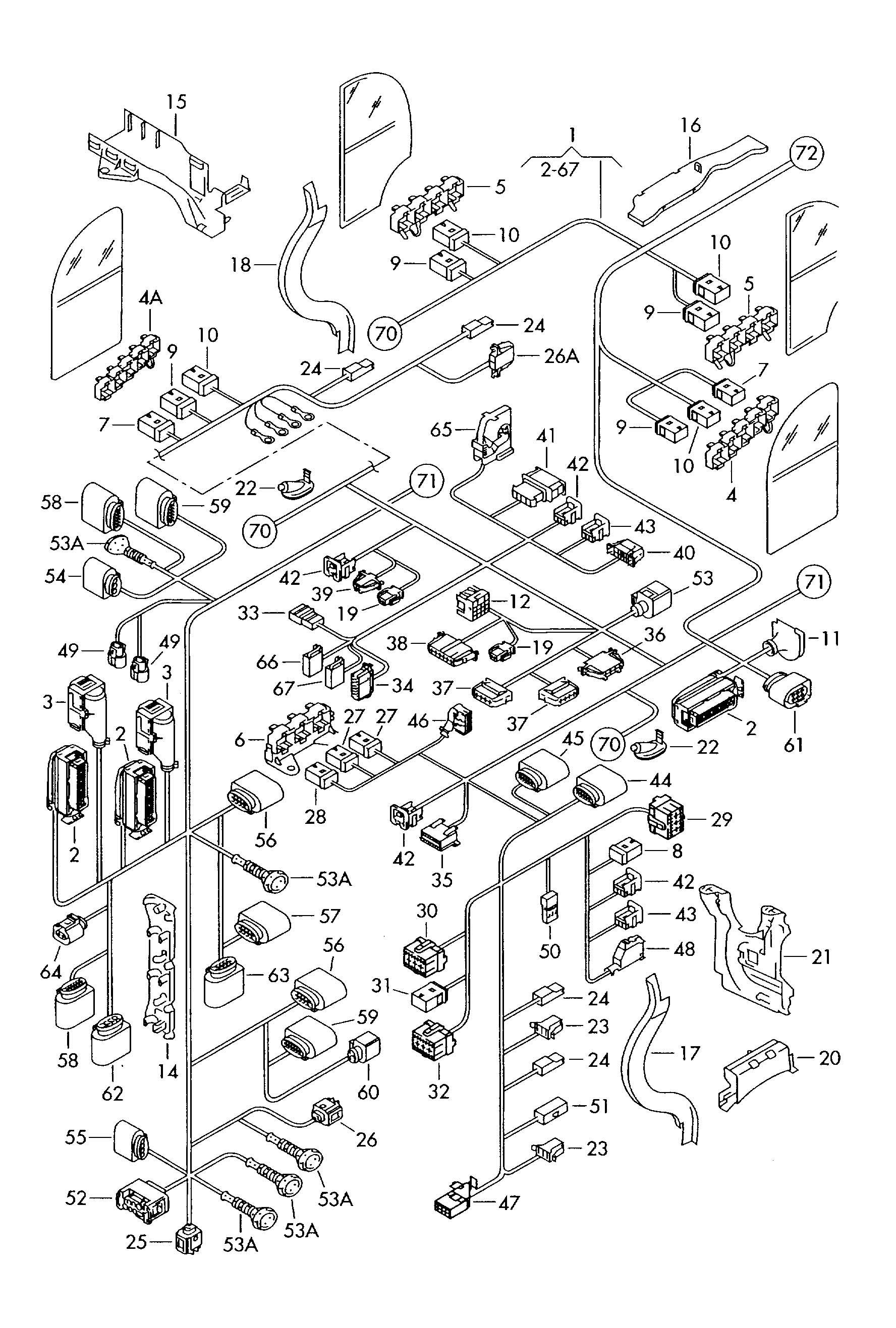 volkswagen phaeton central wiring harness single parts