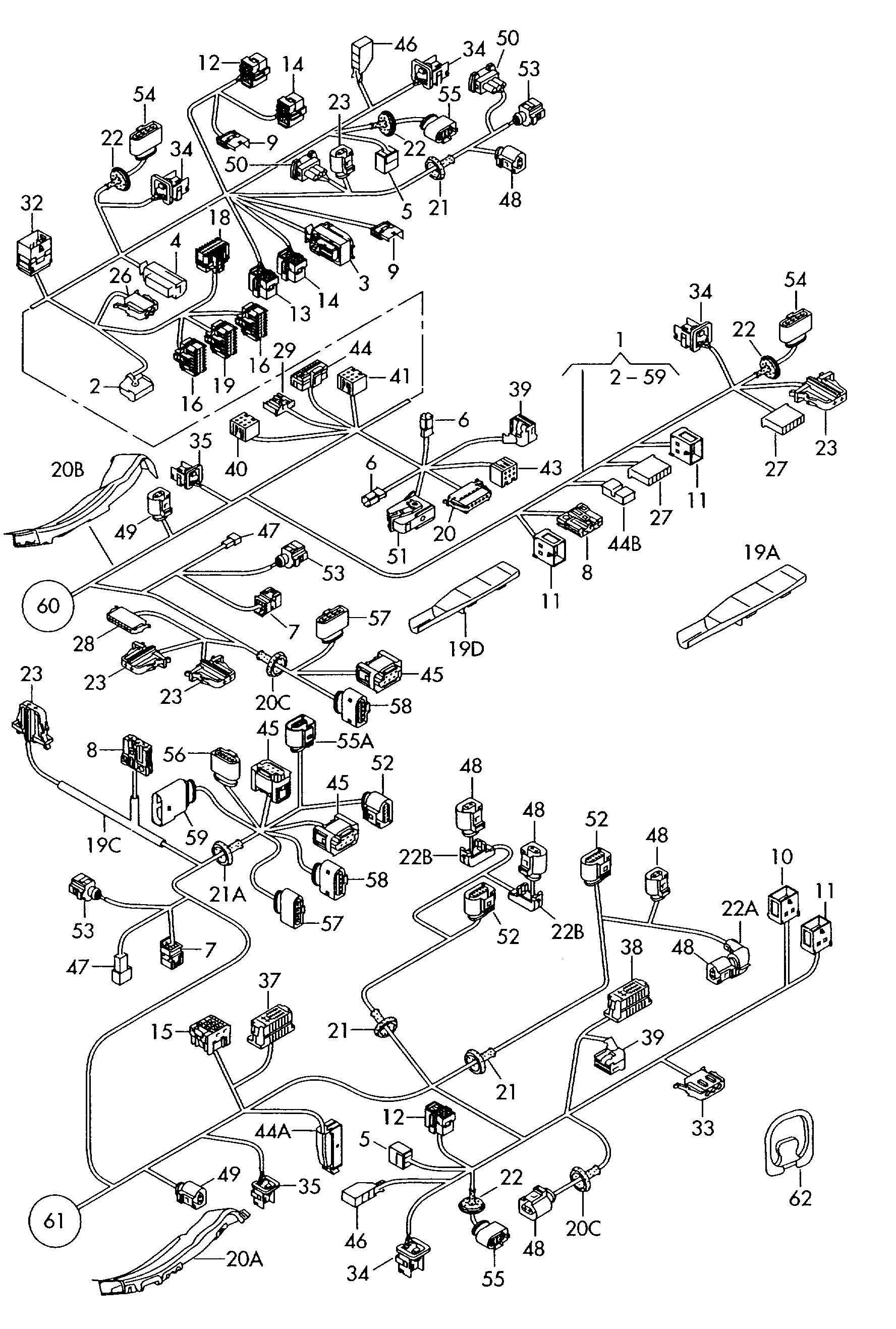 volkswagen touareg power module flat contact housing with contact locking mechanism