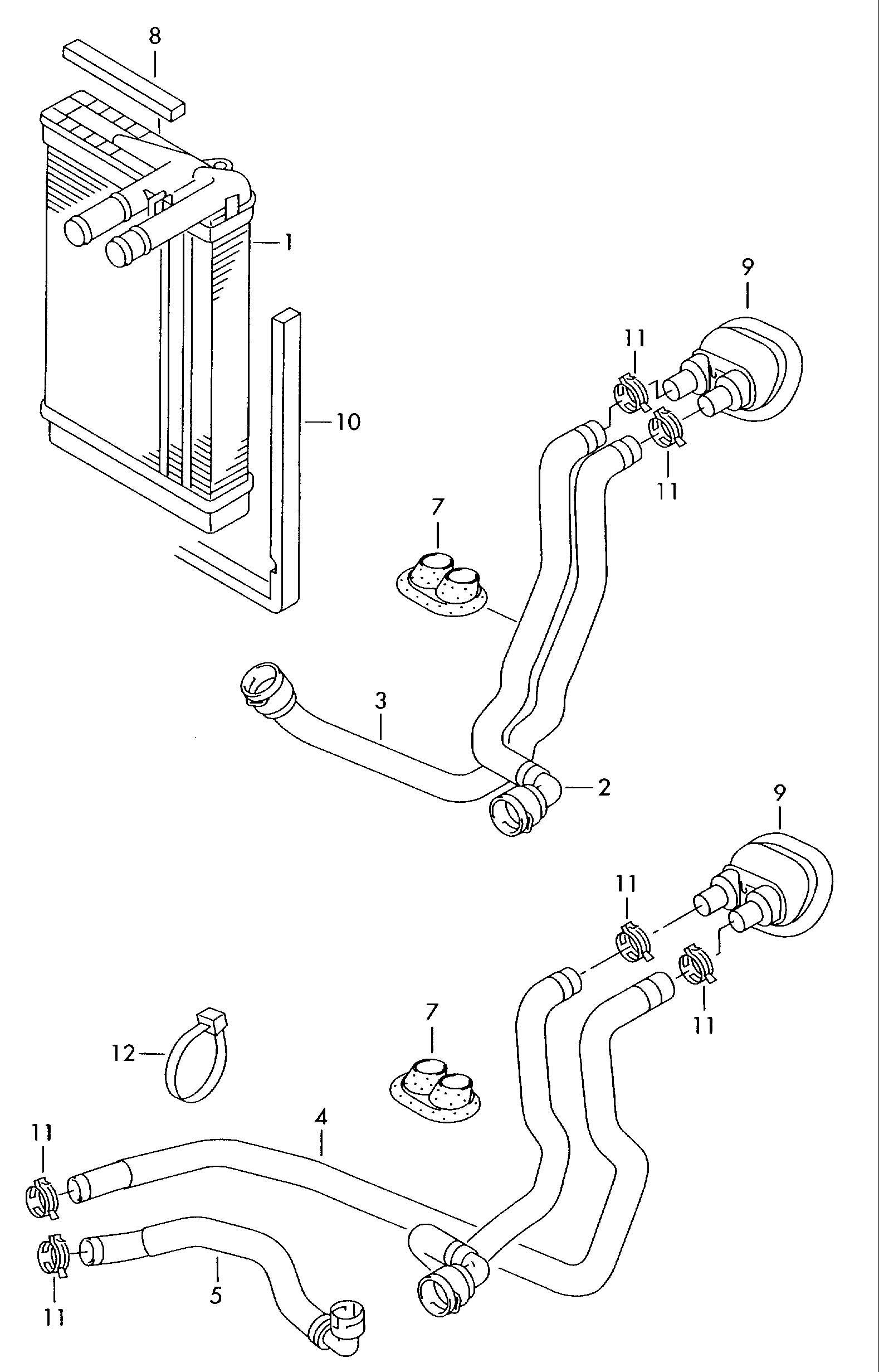 Volkswagen Passat Water Hose  Heat Exchanger U0026gt Coolant P
