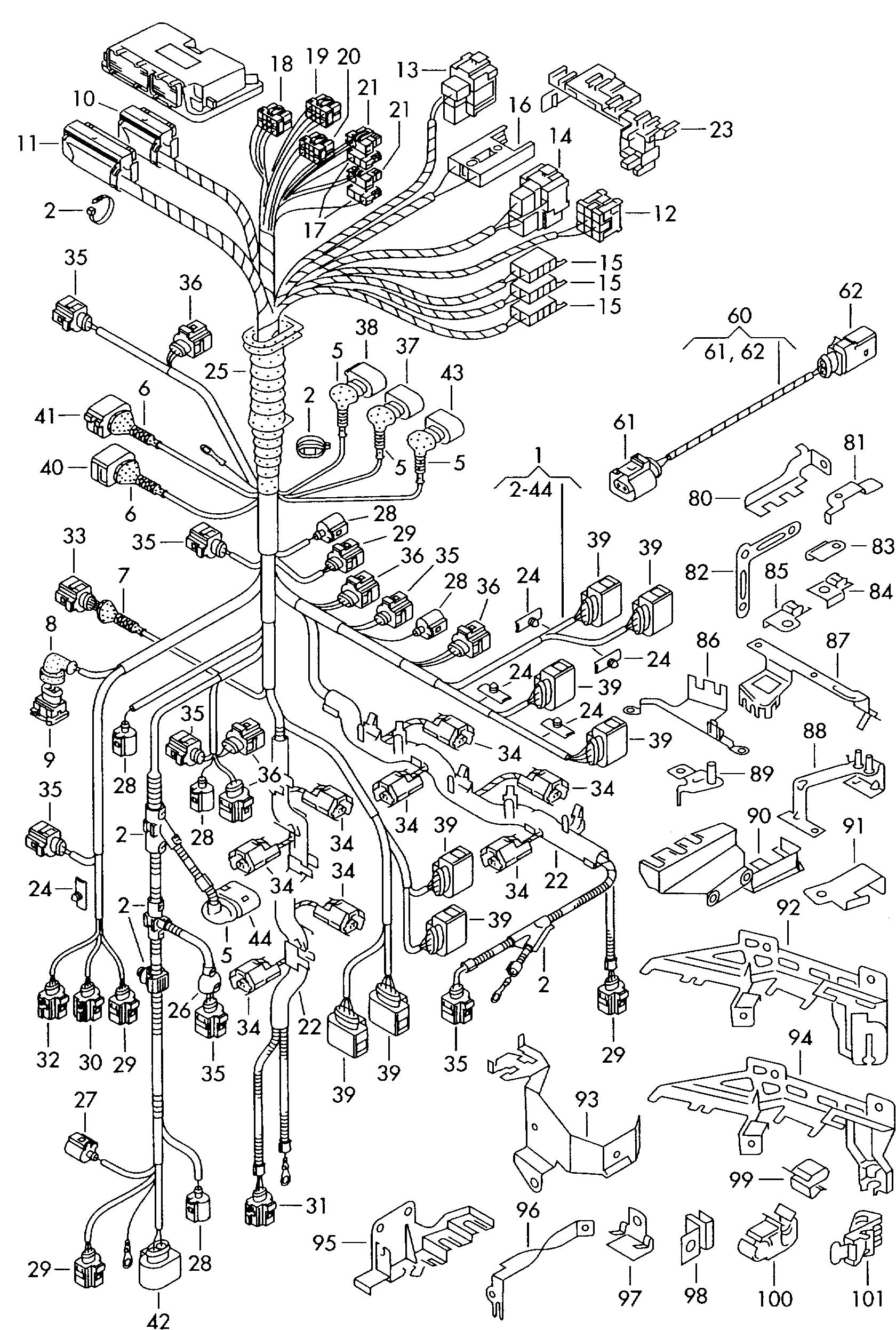Single parts which do not adapter wiring harness