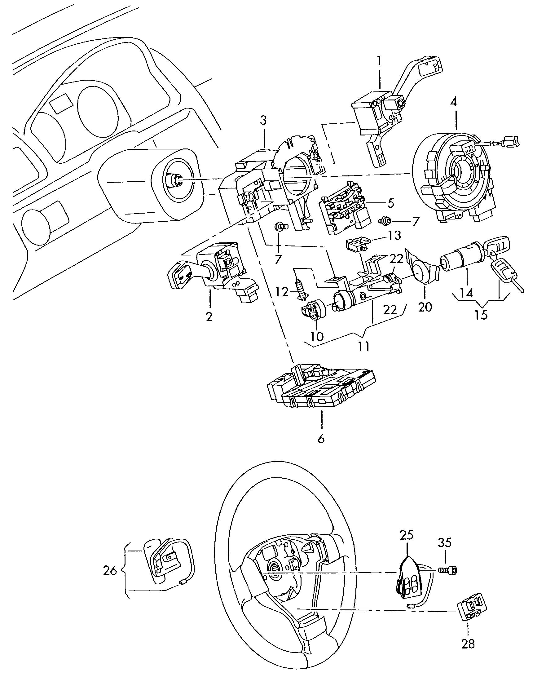 2008 volkswagen tiguan steering column lock with ignition switch and adapter wiring harness