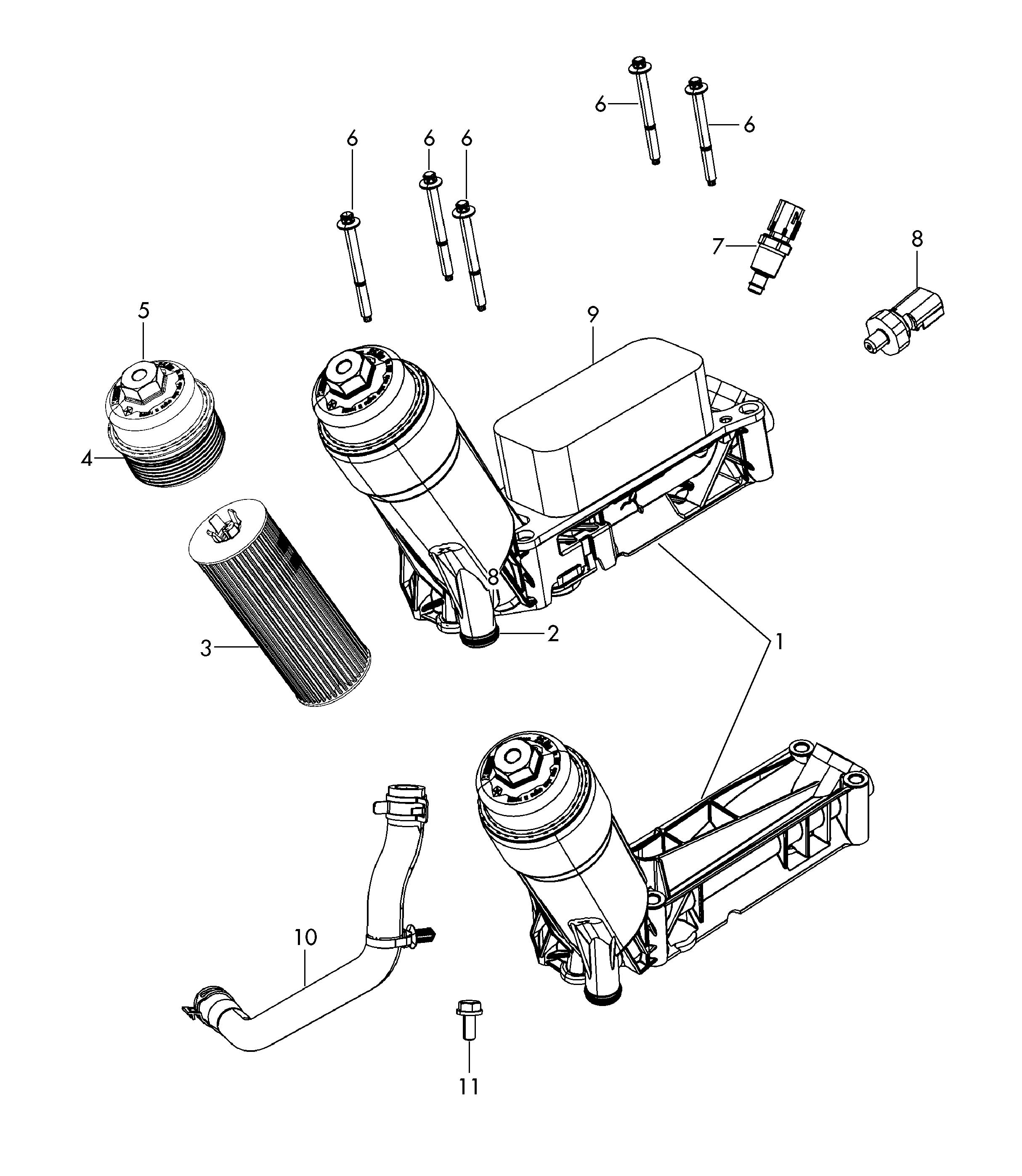 2011 volkswagen routan oil filter with flange and oil cooler