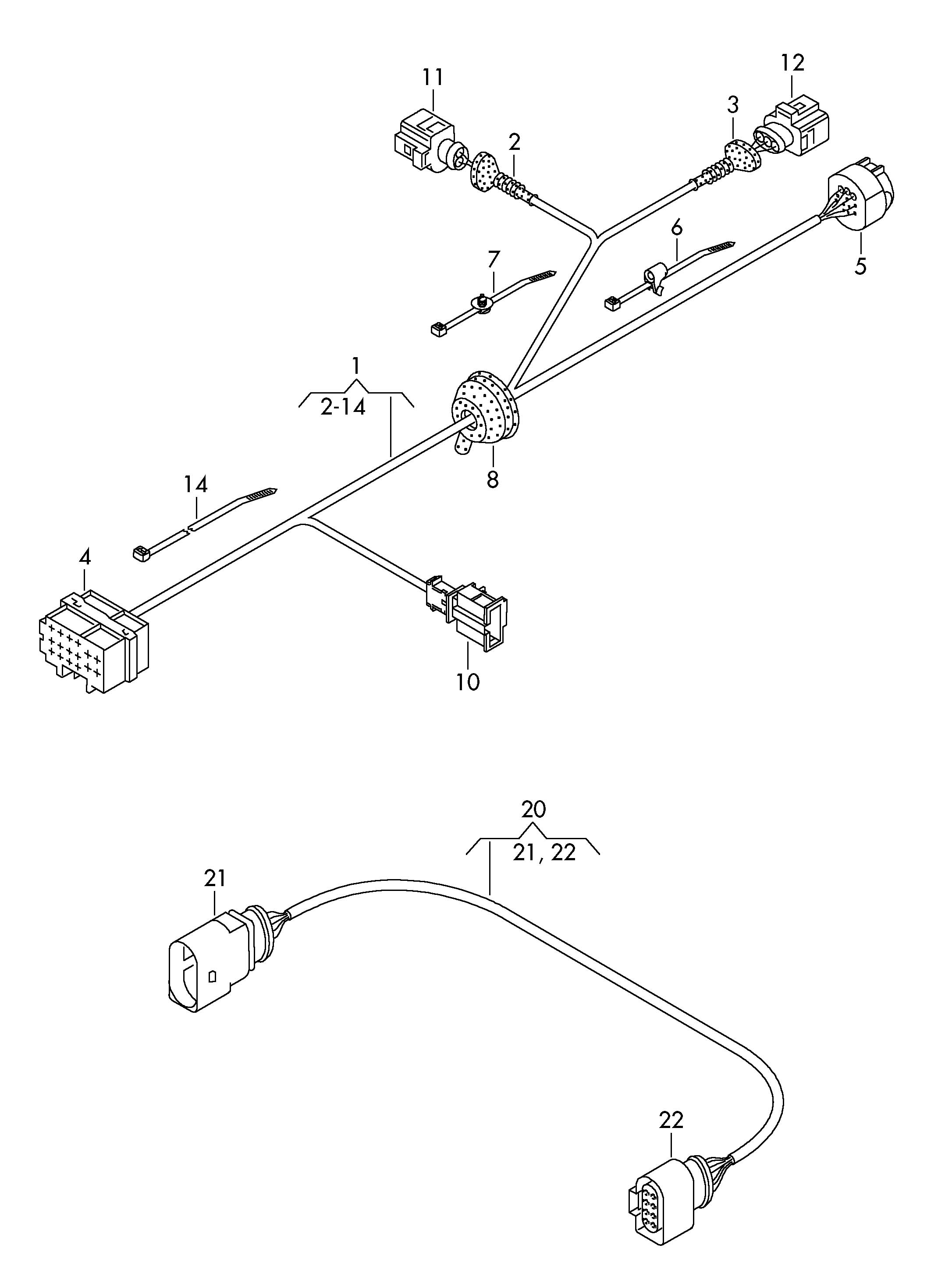 volkswagen tiguan harness for trailer hitch connection  loom  tow  haldex