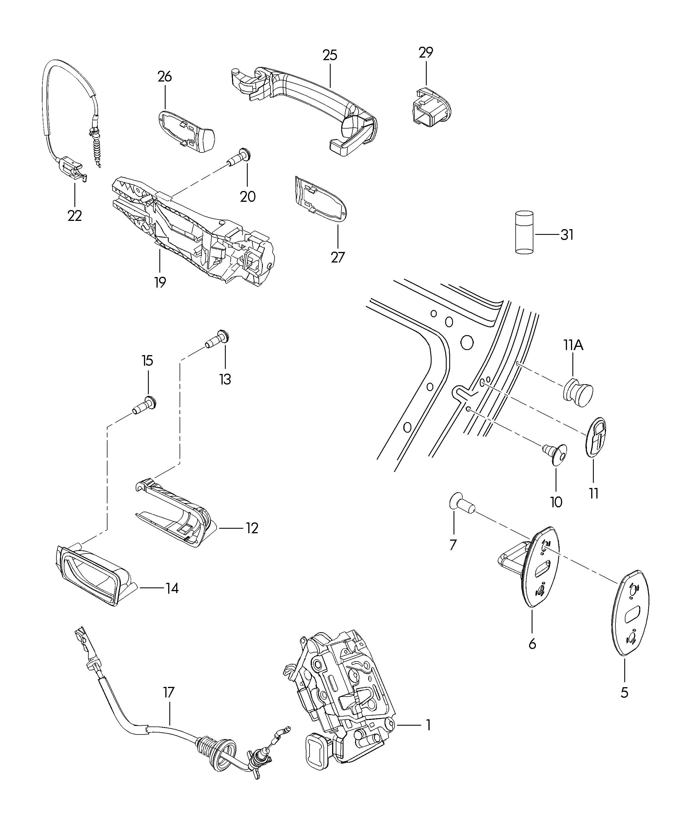 Volkswagen jetta door handle outer door latch interior release rear for Vw jetta interior replacement parts