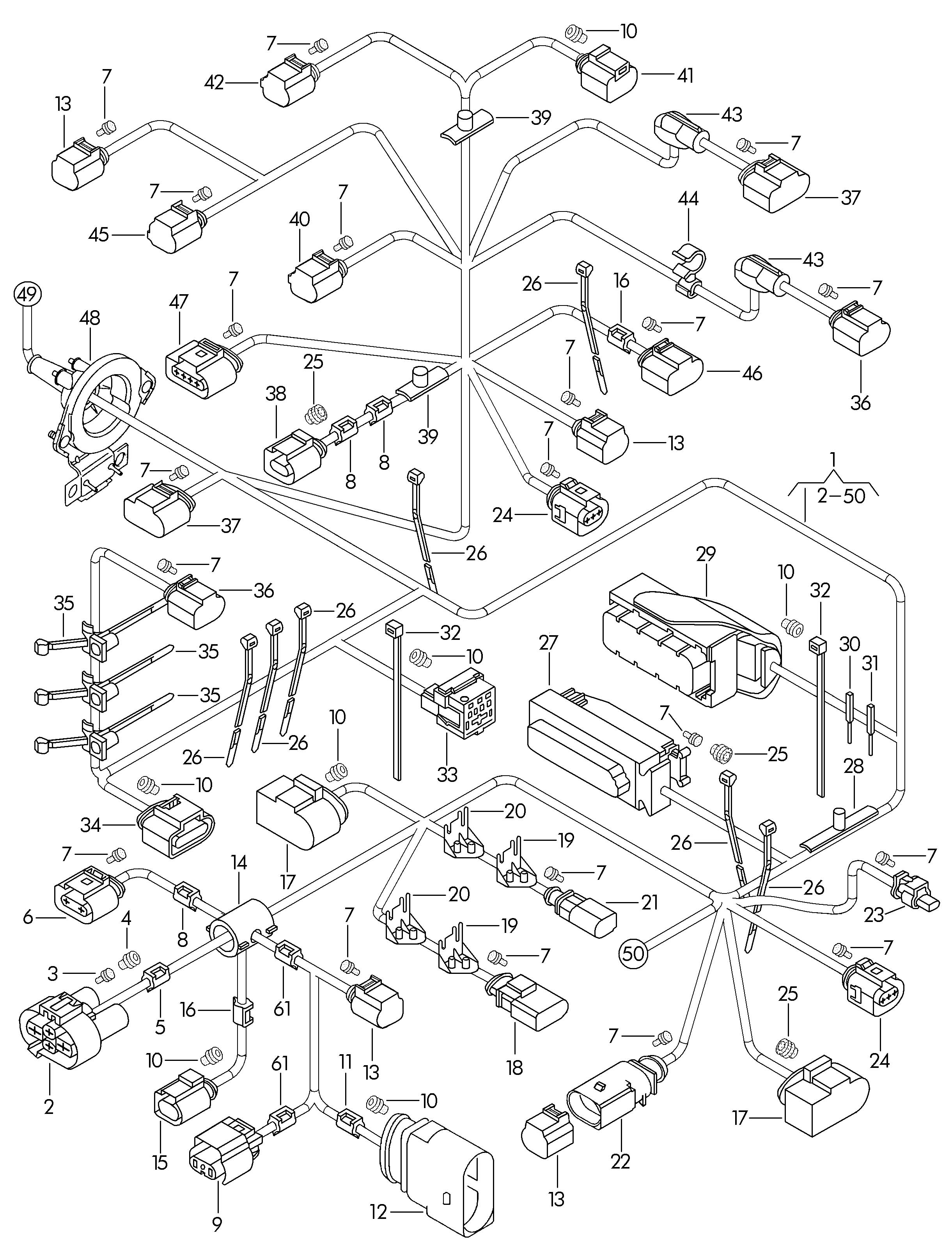 volkswagen passat central wiring harness single parts area