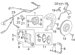 BRAKE COMPONENTS. FRONT SUSPENSION. W/O R.